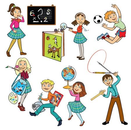 geografia: vector conjunto con los escolares, los niños cuadros aislados sobre fondo blanco