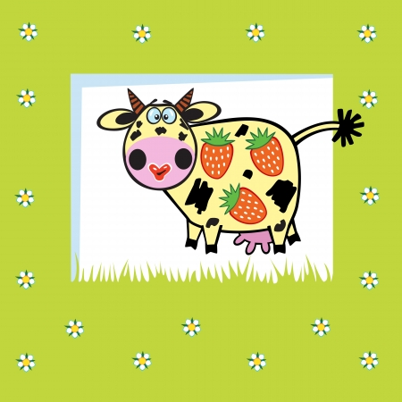 fruity: cute fruity cow with  strawberries,children vector illustration on green background,picture for babies and little kids
