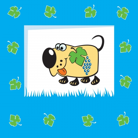 frutoso: cão frutado bonito com uva, crianças ilustração vetorial, azul, fundo, projeto para bebês e crianças pequenas Ilustração