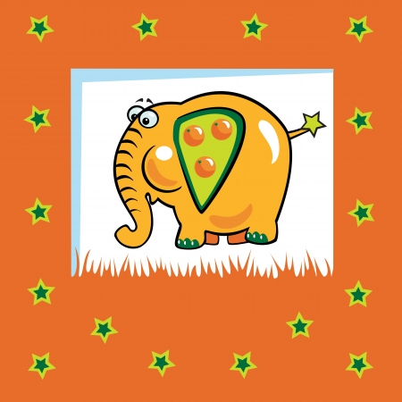 cute fruity elephant with orange fruit,children  vector illustration on orange background,design for babies and little kids
