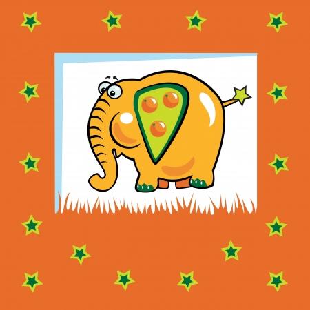 söt fruktig elefant med orange frukt, barn, vektor, Illustration, apelsin, bakgrund, design för bebisar och små barn Illustration
