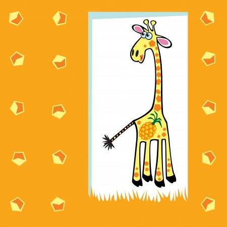 funny pictures: cute fruity giraffe with pineapple,children vector illustration on orange background,design for babies and little kids