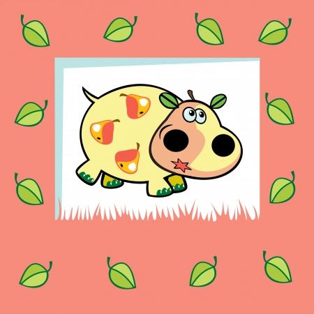 frutoso: hipopótamo frutados bonitos como pêra, crianças Ilustração do vetor em fundo rosa, design para bebês e crianças pequenas Ilustração