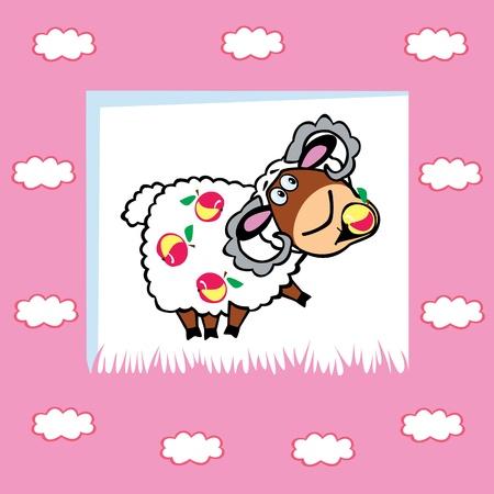 frutoso: ram frutado bonito com maçãs, as crianças ilustração do vetor em fundo rosa, design para bebês e crianças pequenas