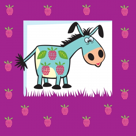 cute fruity donkey with raspberries,children illustration on violet background,vector design  for babies and little kids Vector