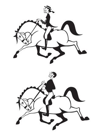 hombre y mujer los jinetes a caballo, blanco y negro caricatura, la competencia de doma, imágenes vectoriales Ilustración de vector