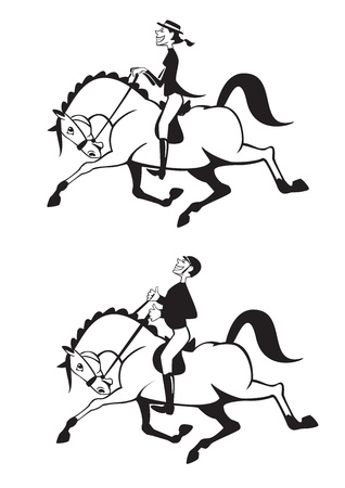 trotando: hombre y mujer los jinetes a caballo, blanco y negro caricatura, la competencia de doma, im�genes vectoriales Vectores