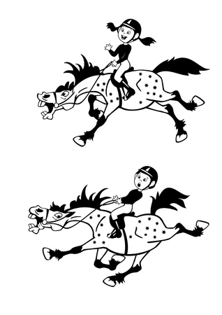 trotting: cartoon pictures of little boy and girl horse riders,playful trotting and galloping ponies,black and white children vector illustration