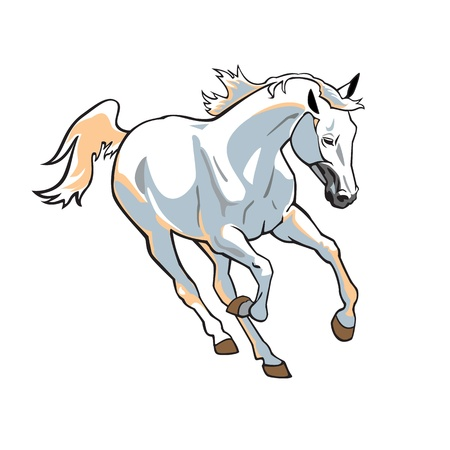 stables: running white horse,single vector image isolated on white background,galloping stallion
