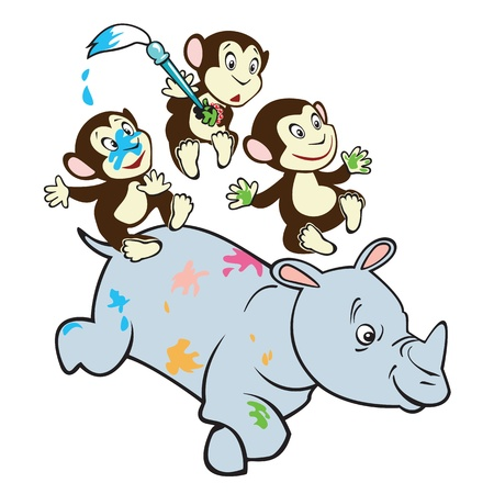 rhino vector: three cute little monkeys  riding rhino ,cartoon vector picture isolated on white background,children illustration for little kids