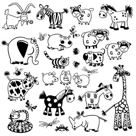 ställa söta barnsliga djur, svart och vitt vektorbilder, barnillustration, samling av bilder för spädbarn och små barn Illustration