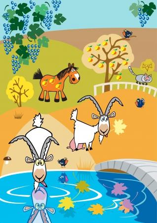 barnyard: childish autumn landscape with goats and horse in garden,children vector illustration for little kids
