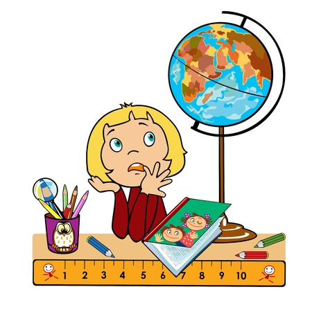 school girl sitting at table with globe,book and cup with pencils,children illustration,picture isolated on white background Vector