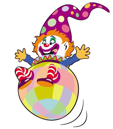 clown,toy,cartoon image isolated on white background,children illustration,picture for babies and little kids Vector