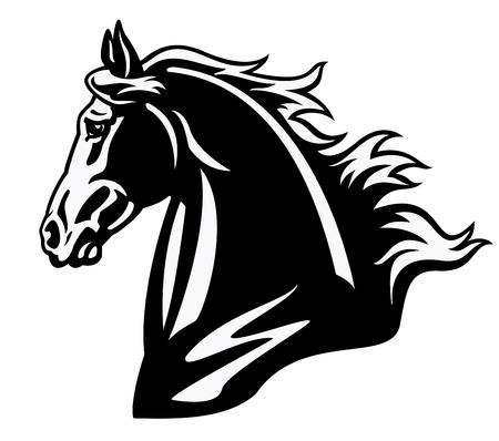 cabeza de caballo: cabeza de caballo, blanco y negro, imagen Vista lateral aislada en el fondo blanco, ilustración del tatuaje