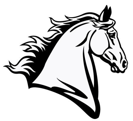 cabeza de caballo: cabeza de caballo, imagen en blanco y negro, imagen Vista lateral aislada en el fondo blanco, ilustración del tatuaje