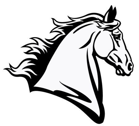 domestic horses: horse head,black and white picture,side view image isolated on white background,tattoo illustration