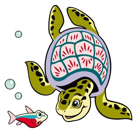 havssköldpadda med fisk