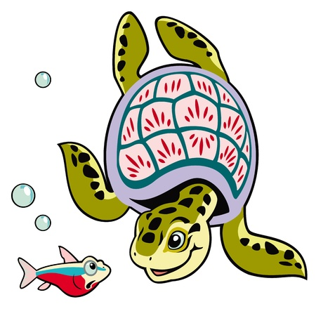 kiddish: sea turtle with fish