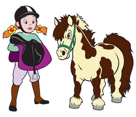 horse saddle: cavallo cavaliere, bambina con pony, sport equestre, immagine cartone animato isolato su sfondo bianco, illustrazione per bambini,