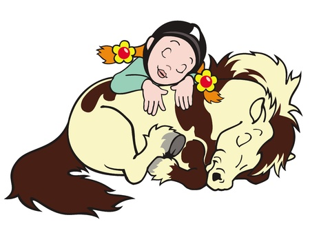 shetland pony: horse pony and girl,sleeping,small horse,cartoon image isolated on white background,children illustration,vector image for little kids