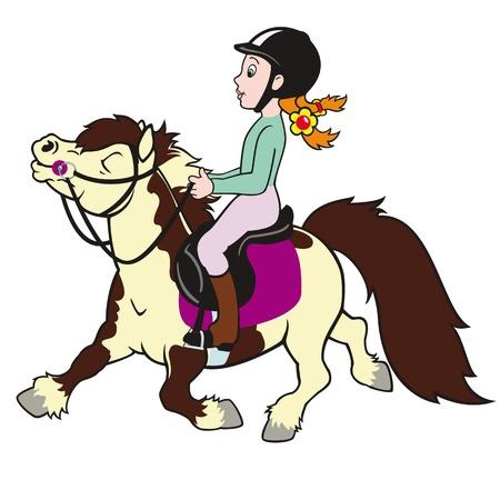 cavallo pony e cavaliere ragazza, bambino piccolo equitazione, sport equestre, immagine cartone animato isolato su sfondo bianco, illustrazione per bambini, foto per i più piccoli Vettoriali