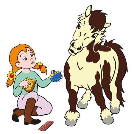 caballo caricatura: cuidado del caballo, pony chica aseo, jinete infantil, deporte ecuestre, imagen de la historieta aislado en el fondo blanco,