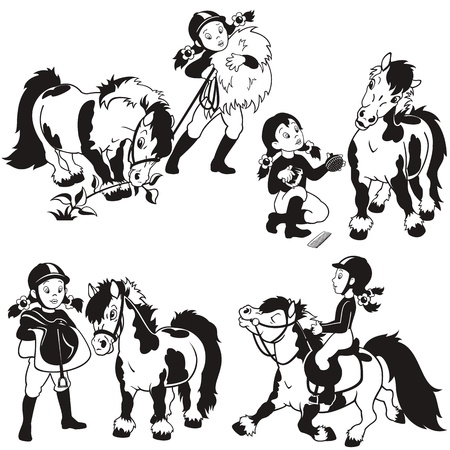horse riding: horse rider,little girl and pony,black and white cartoon set,children illustration