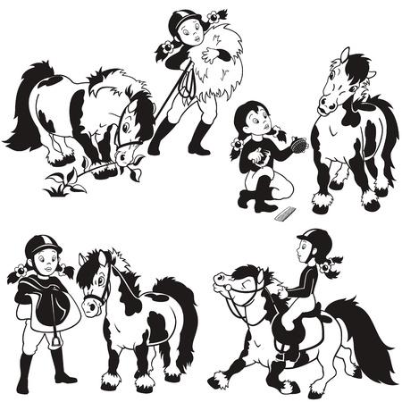 shetlander: ruiter, klein meisje en pony, zwart en wit cartoon set, kinderen illustratie