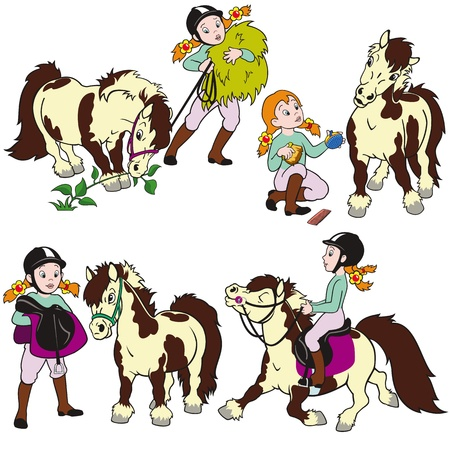 equestrian sport: horse rider,girl with pony,children illustration,cartoon vector images isolated on white background,set for little kids