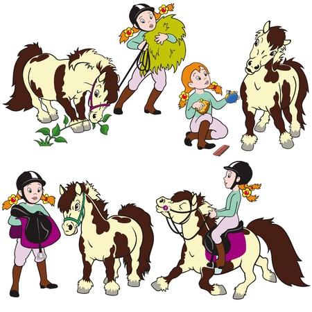 shetlander: ruiter, meisje met pony, kinderen illustratie, cartoon vector afbeeldingen geïsoleerd op witte achtergrond, die voor kleine kinderen
