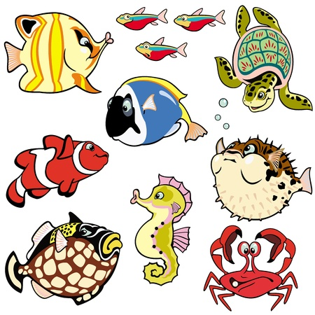 sea creatures: sea fishes and animals,set with cartoon pictures isolated on white background,children illustration,vector images
