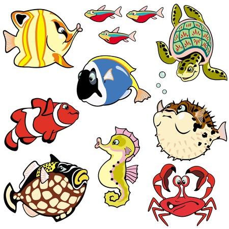 zee vissen en dieren, bezet met cartoon foto's geïsoleerd op witte achtergrond, kinderen, vector afbeeldingen