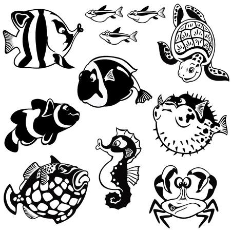 peces y animales marinos, vector set, fotos en blanco y negro, ilustración niños