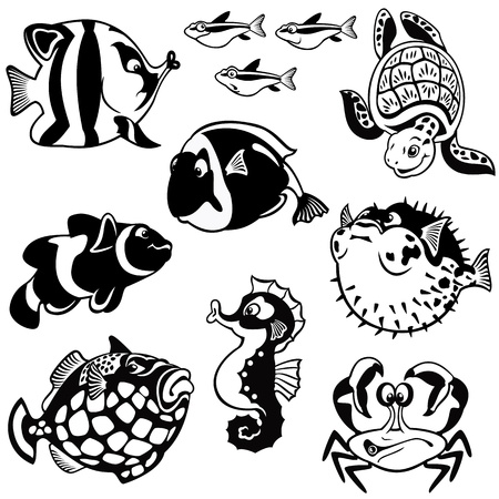 vissen en zeedieren, vector set, zwart-wit foto's, kinderen illustratie