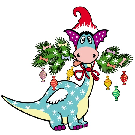 Christmas dragon,cartoon vector picture isolated on white background,children illustration Stock Vector - 16123135