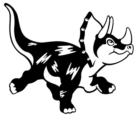cartoon dinosaur triceratops,black and white vector picture isolated on white background,children illustration Illustration