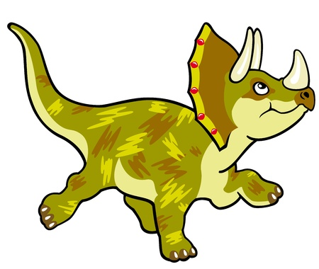triceratops: cartoon dinosaur triceratops,vector picture isolated on white background,children illustration,image for little kids