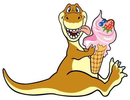 dinosaur animal: cartoon dinosaur eating ice cream,vector picture isolated on white background,children illustration,image for little kids
