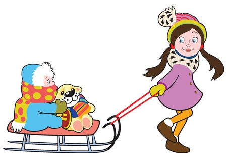 toboggan: child with sledge,vector illustration isolated on white background,picture for litle kids