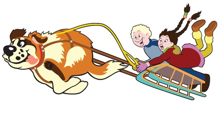 toboggan: dog pulling sledge with children,cartoon image isolated on white background,illustration for little kids