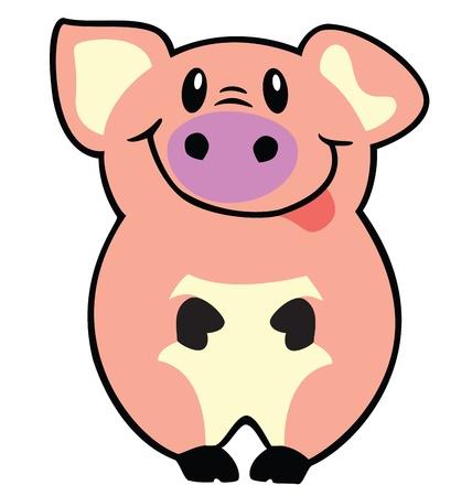 cerdo caricatura: cerdo, cerdito, imagen vector de dibujos animados aislado en el fondo blanco, ilustración infantil