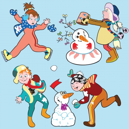 set with children in winter,cartoon pictures for little kids,vector Stock Vector - 16402466