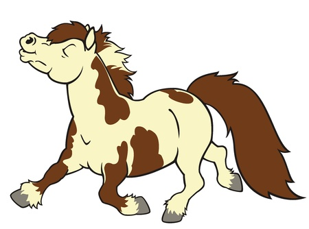 shetland pony, corriendo a caballo, imagen de dibujos animados aislado en el fondo blanco, los niños ilustración, lado, vista la imagen para niños pequeños