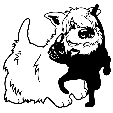 west highland white terrier dog and black cat,isolated cartoon illustration Vector