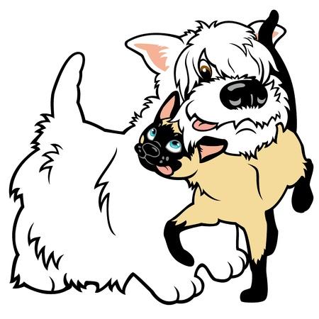 siamese: cartoon West Highland White Terrier Hund und siamesische Katze, Vektor-Illustration isoliert auf wei�em Hintergrund