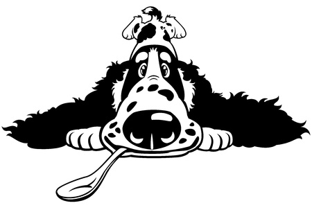 spaniel: dog english cocker spaniel breed,cartoon puppy with spoon,black white vector picture isolated on white background,front view illustration Illustration