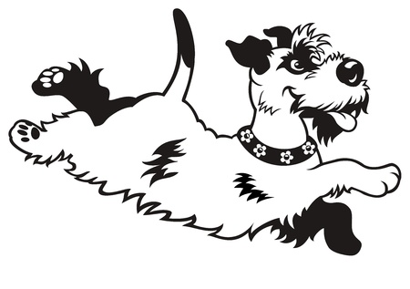 cartoon dog,black white vector picture isolated on white background,side view image