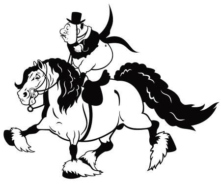 trotando: jinete mayor montar a caballo pesado, deporte ecuestre, imagen blanco negro de dibujos animados aislado en el fondo blanco