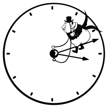 senior man with clock ,cartoon picture isolated on white background,vector illustration Stock Vector - 17130905